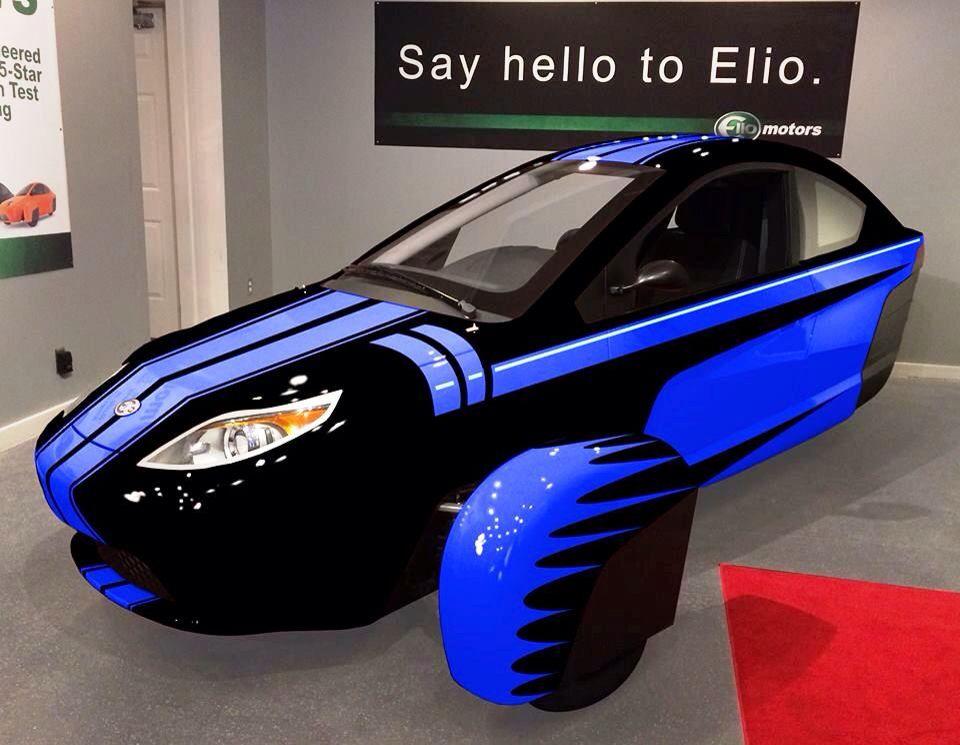 Black And Blue Reverse Trike Three Wheeled Car Elio Motors