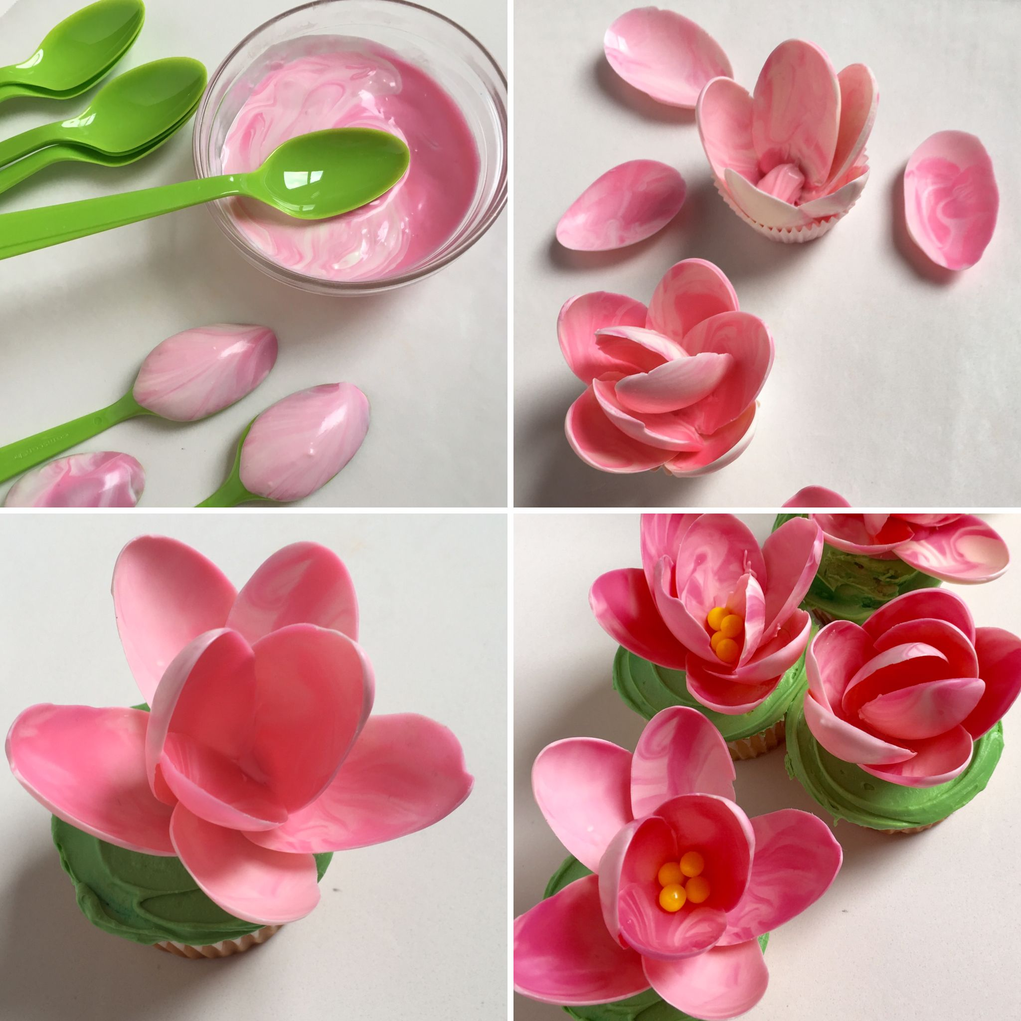 Making Pink Chocolate Magnolia Cupcakes Using Plastic Spoons From