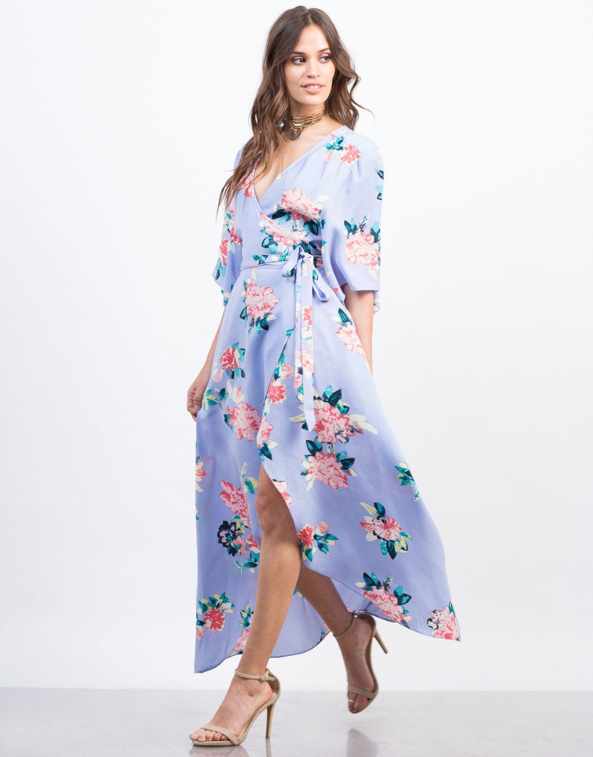 Aqua maxi kimono dress