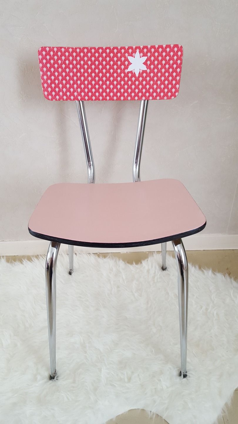 Chaise Vintage Formica Relookee Rose Chaise Vintage Mobilier De