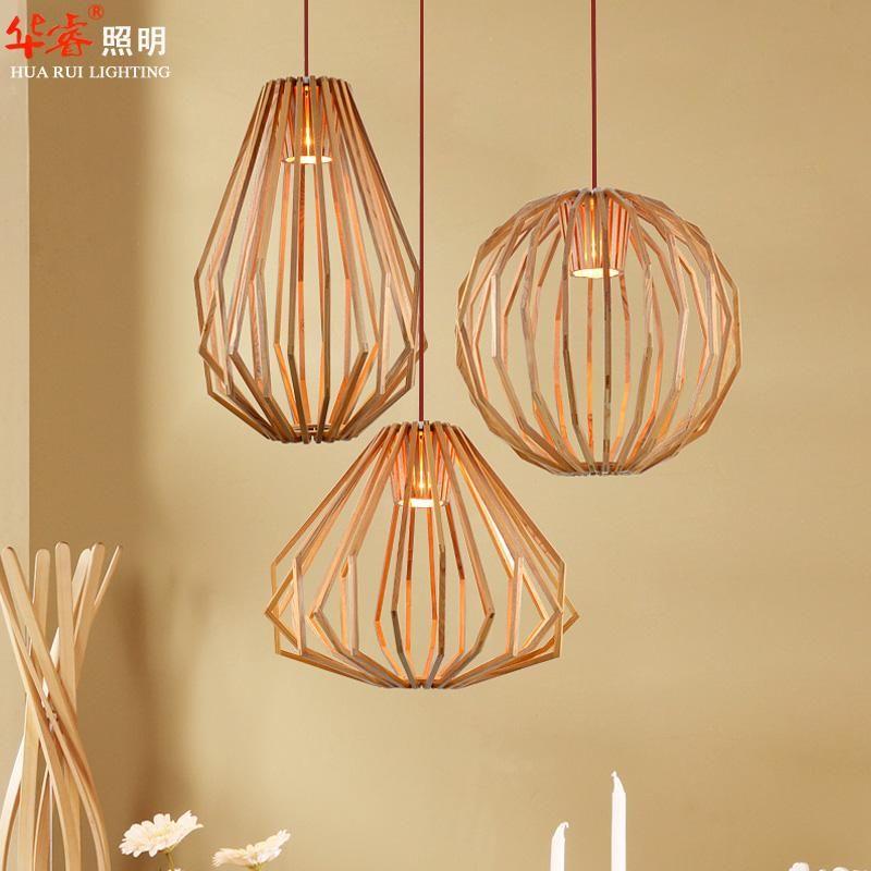 Pendant Lightings Solid Wooden Chandeliers Retro Diamond Shape Minimalist Oval Indoor Lighting Circular Vintage Study Lamps