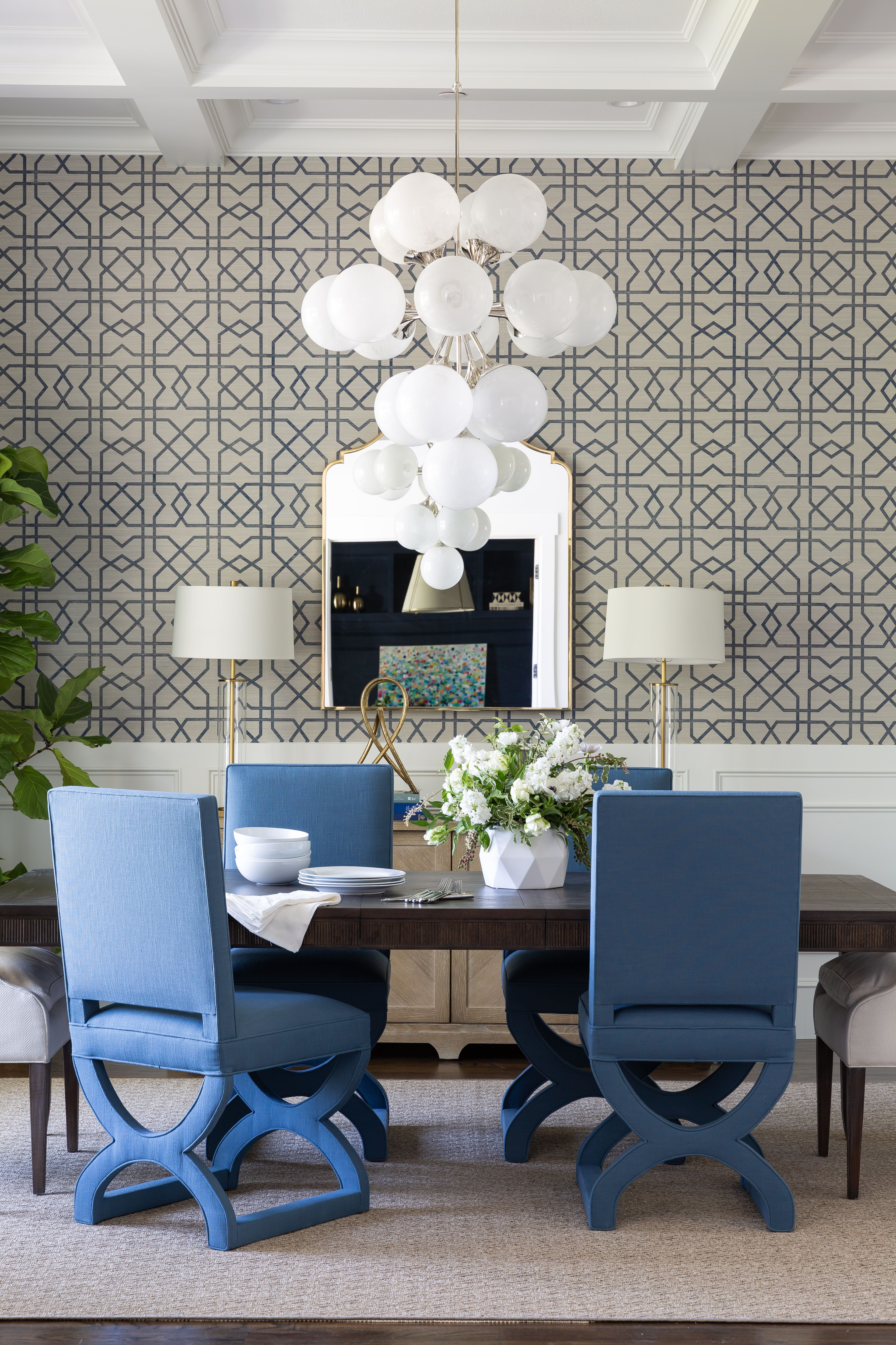 Dallas Dining Room With Patterned Grasscloth Wallpaper Dining Room Wall Color Trendy Dining Room Dining Room Chairs Upholstered