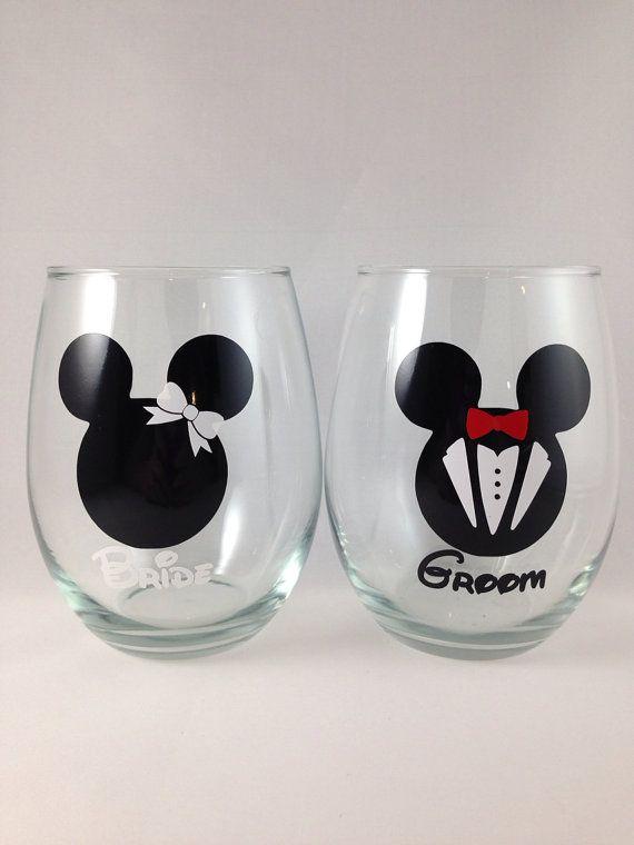mickey and minnie stemless wine glass personalized disney