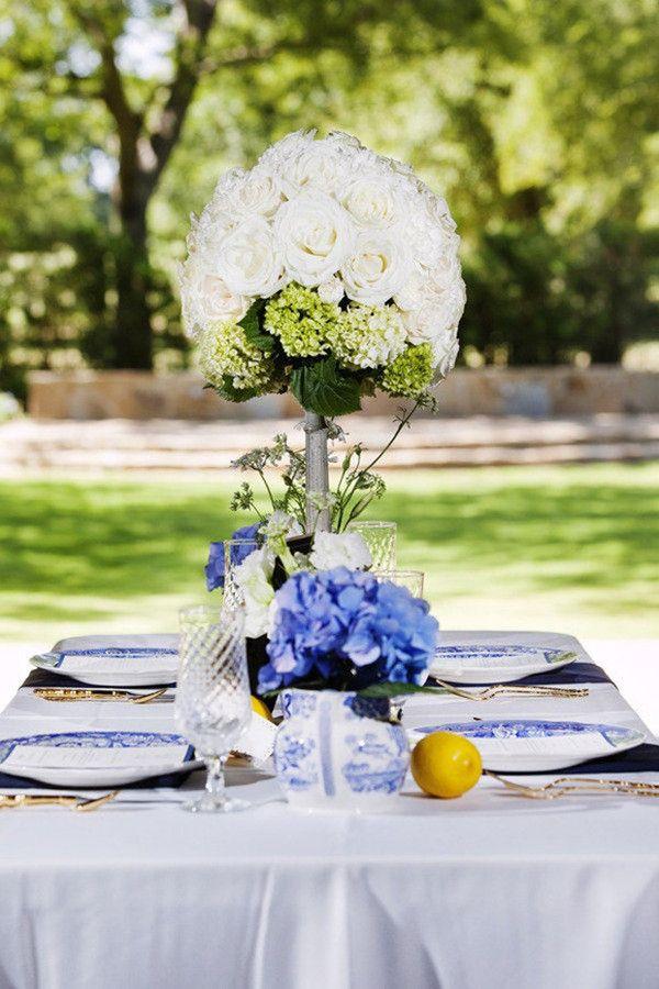 rustikal blau und gelb Hochzeit Ideen Tischdeko mit blau und weiss china Porzellan 2014 Gelb