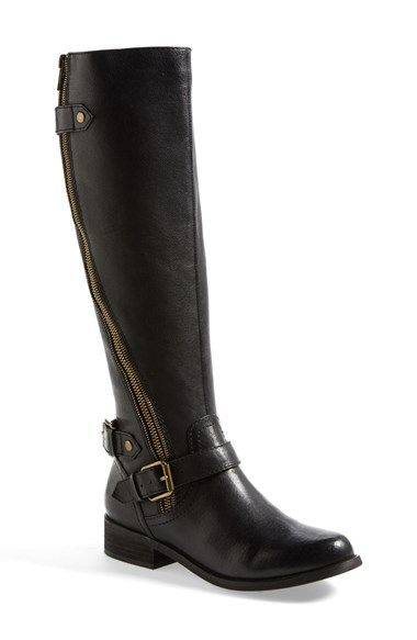 73da70df22e Free shipping and returns on Steve Madden  Synicle  Boot (Women) at  Nordstrom.com. A curved zipper flies up the leather shaft of a riding boot  with buckle ...