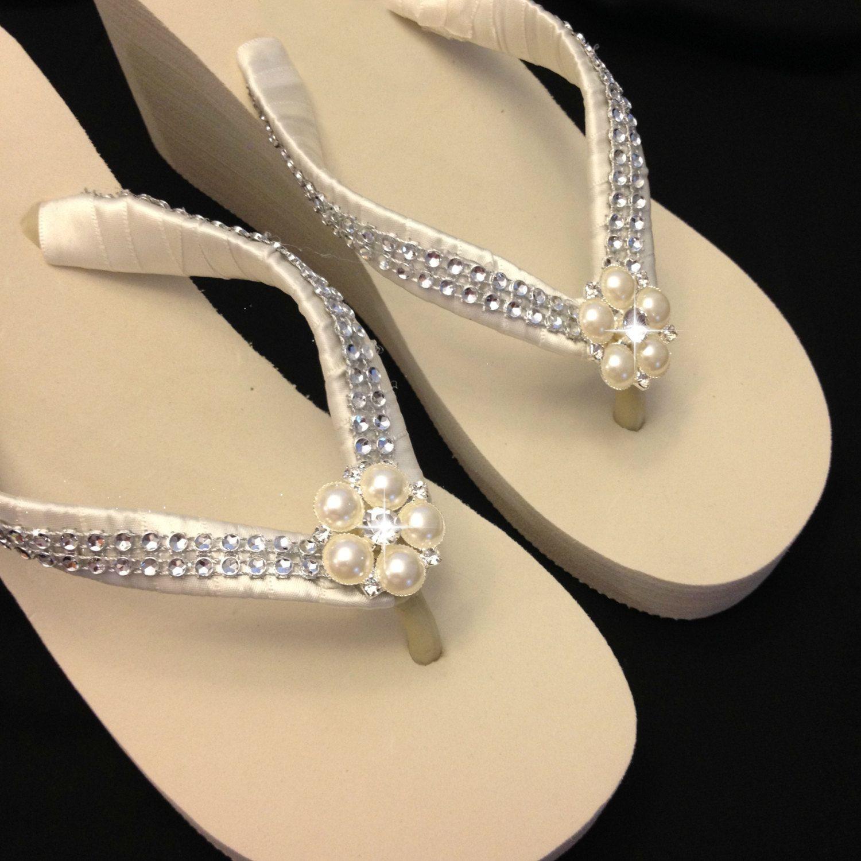 9dadb3d50 Bridal Ivory Flip Flops Wedge Pearl Rhinestones White Wedding Thonhs  Platform Beach Wedding by APricelessPrincess on Etsy
