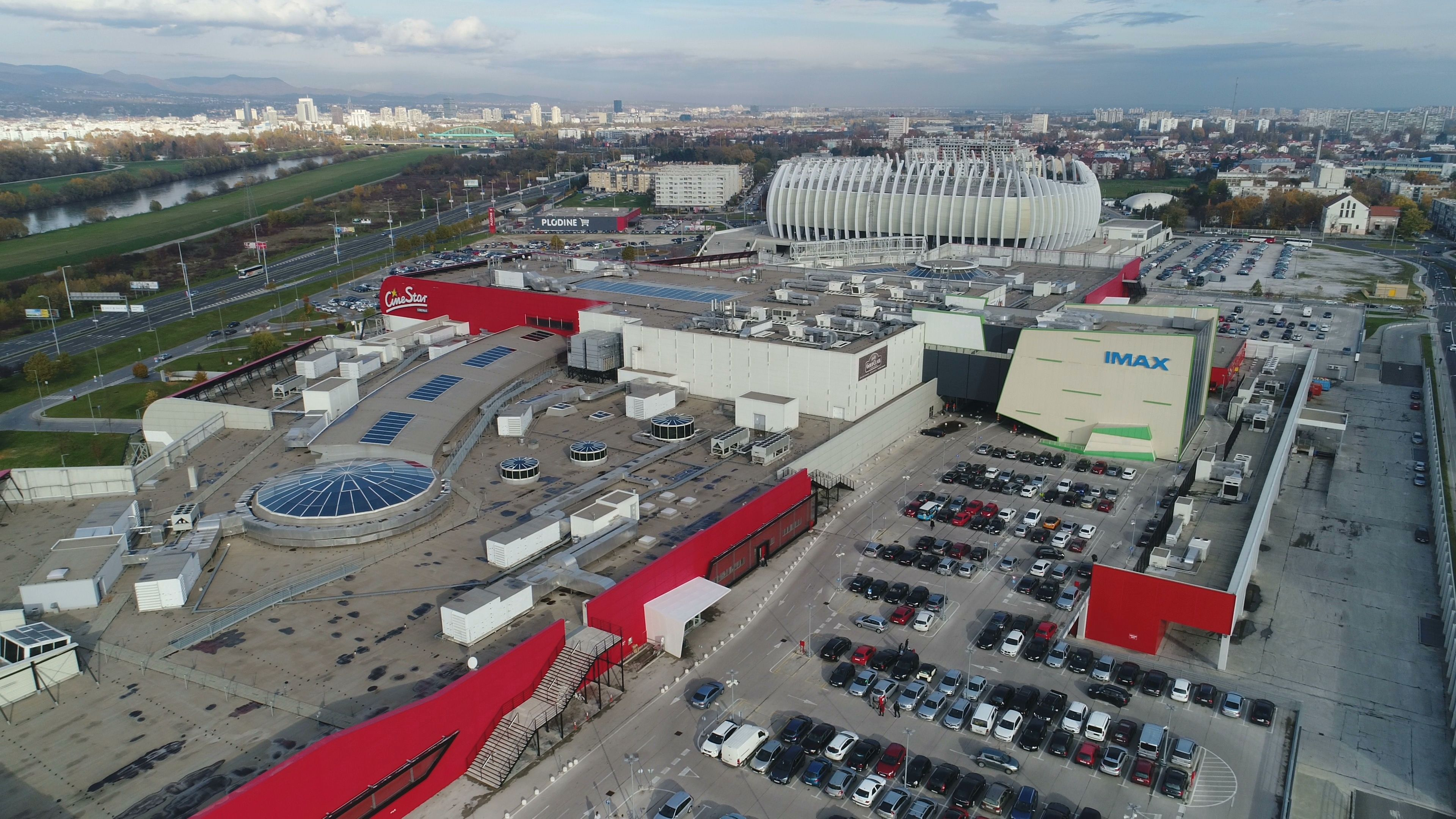 Drone Shot Of Zagreb Arena Sports Facility And Modern Shopping Mall Stock Footage Arena Sports Zagreb Drone Arena Sport Zagreb Arena