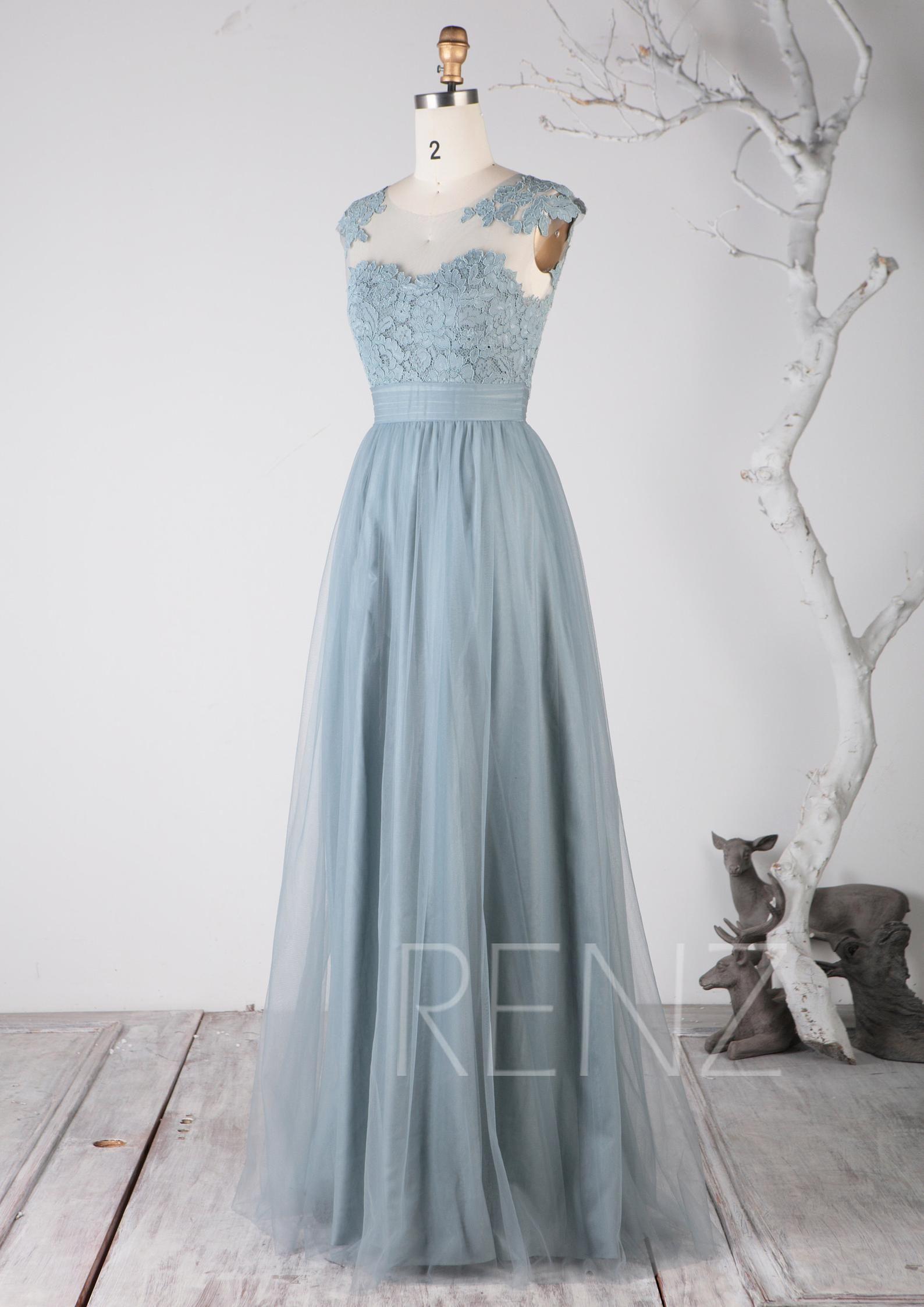 Prom Dress Dusty Blue Tulle Bridesmaid Dress Illusion Lace Etsy Tulle Bridesmaid Dress Dresses Nice Dresses [ 2246 x 1588 Pixel ]