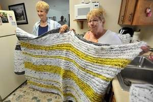 Crocheted Plastic Bag Blankets Crochet Church Bags Group Craft
