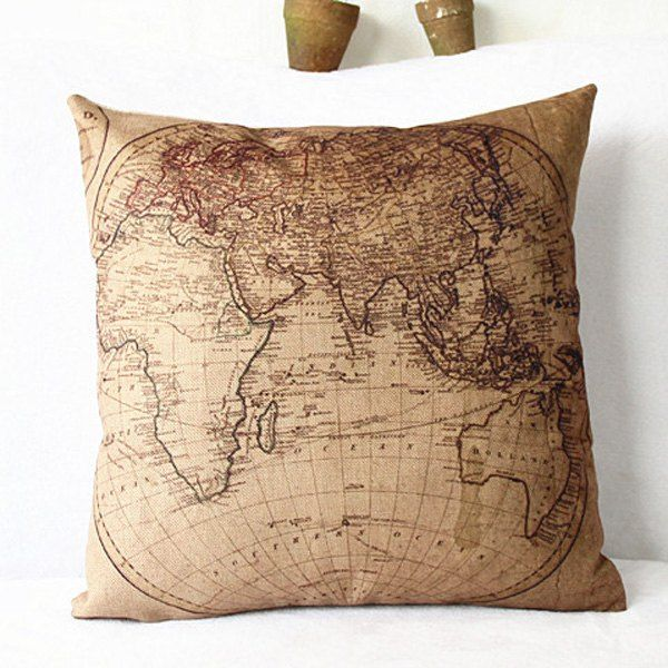 3 65 Modern Linen World Map Pattern Decorative Pillowcase Without Pillow Inner