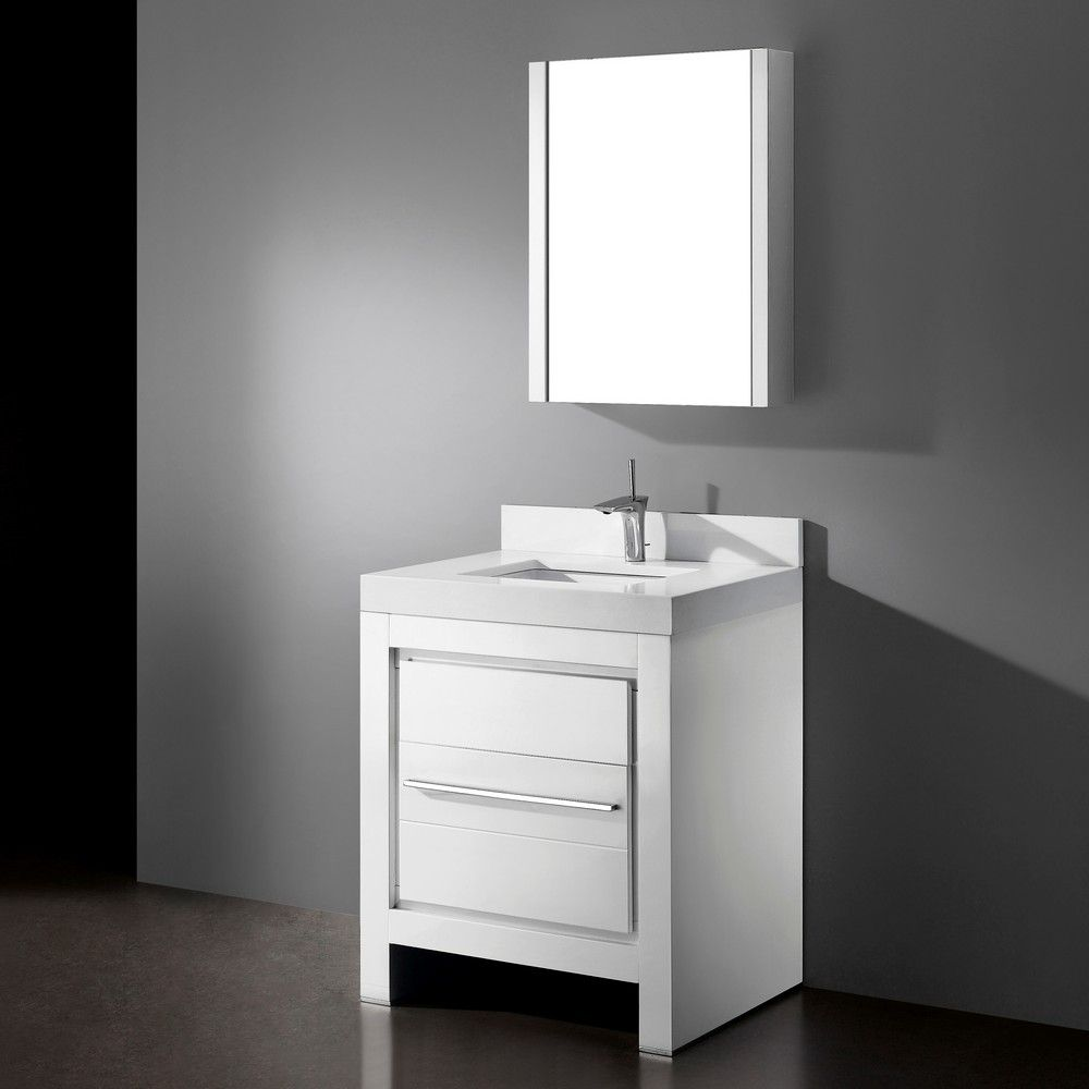 Vicenza Glossy White 30 Modern Single Sink Bathroom Vanity By Madeli Model Vicenza 30 G Single Sink Bathroom Vanity Discount Bathroom Vanities Single Sink
