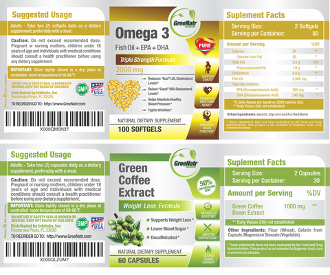 Pure Green Coffee Bean Extract + Omega 3 Fish Oil Pills - Cholesterol Support Bundle