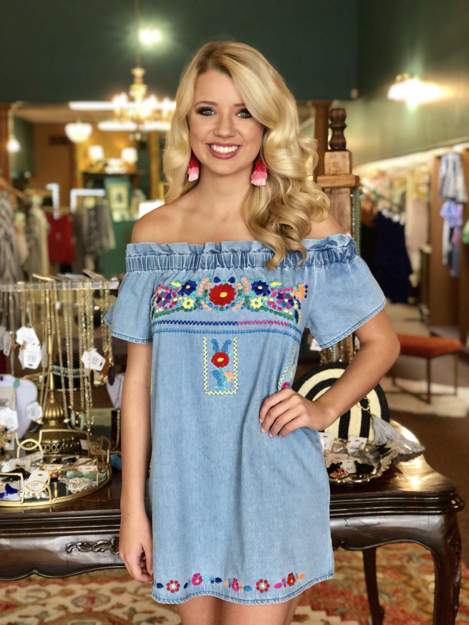 b33cc364535 Denim Embroidered Off Shoulder Dress by Karlie