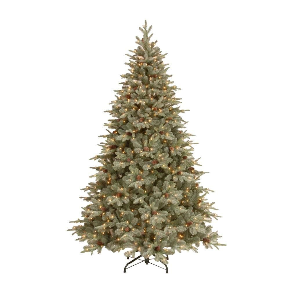 Home Accents Holiday 7 5 Ft Feel Real Alaskan Spruce Artificial Christmas Tree With Pinecones And 750 Clear Lights Pefa1 307e 75x The Home Depot Spruce Christmas Tree Christmas Tree Clear Lights Artificial Christmas Tree