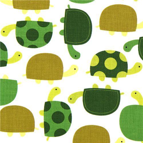 cute fabric with green turtles Robert Kaufman
