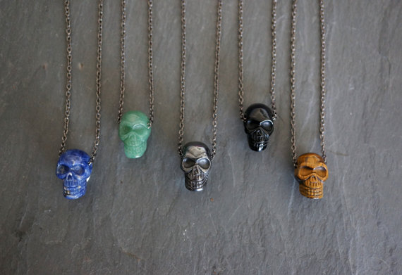 Gemstone Necklace,Gemstone,Gemstone Pendant,Tigers Eye,Pyrite,Jasper, Men's Necklace,Skull Pendant,Skull Necklace.