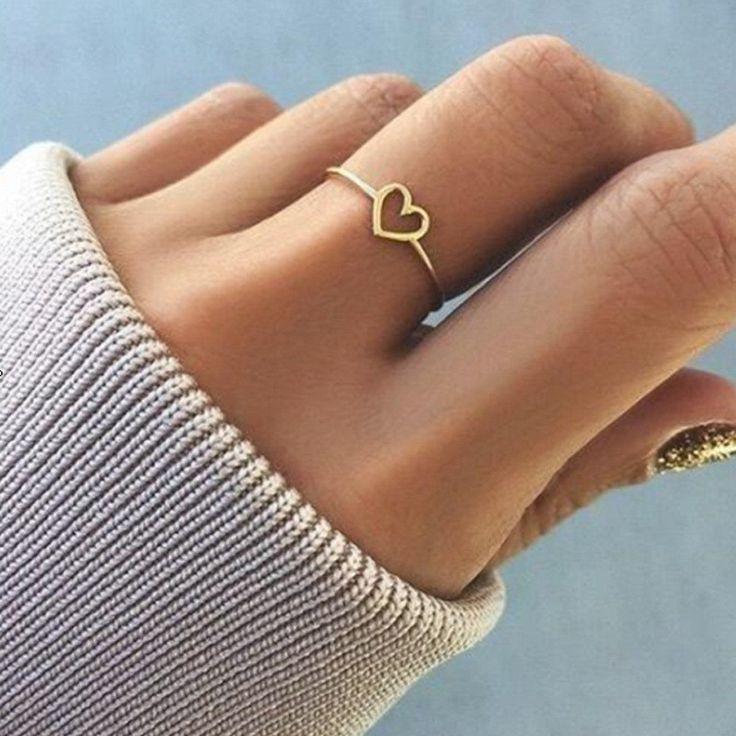 Modyle Gold Color Heart Shaped Wedding Ring - Leloye