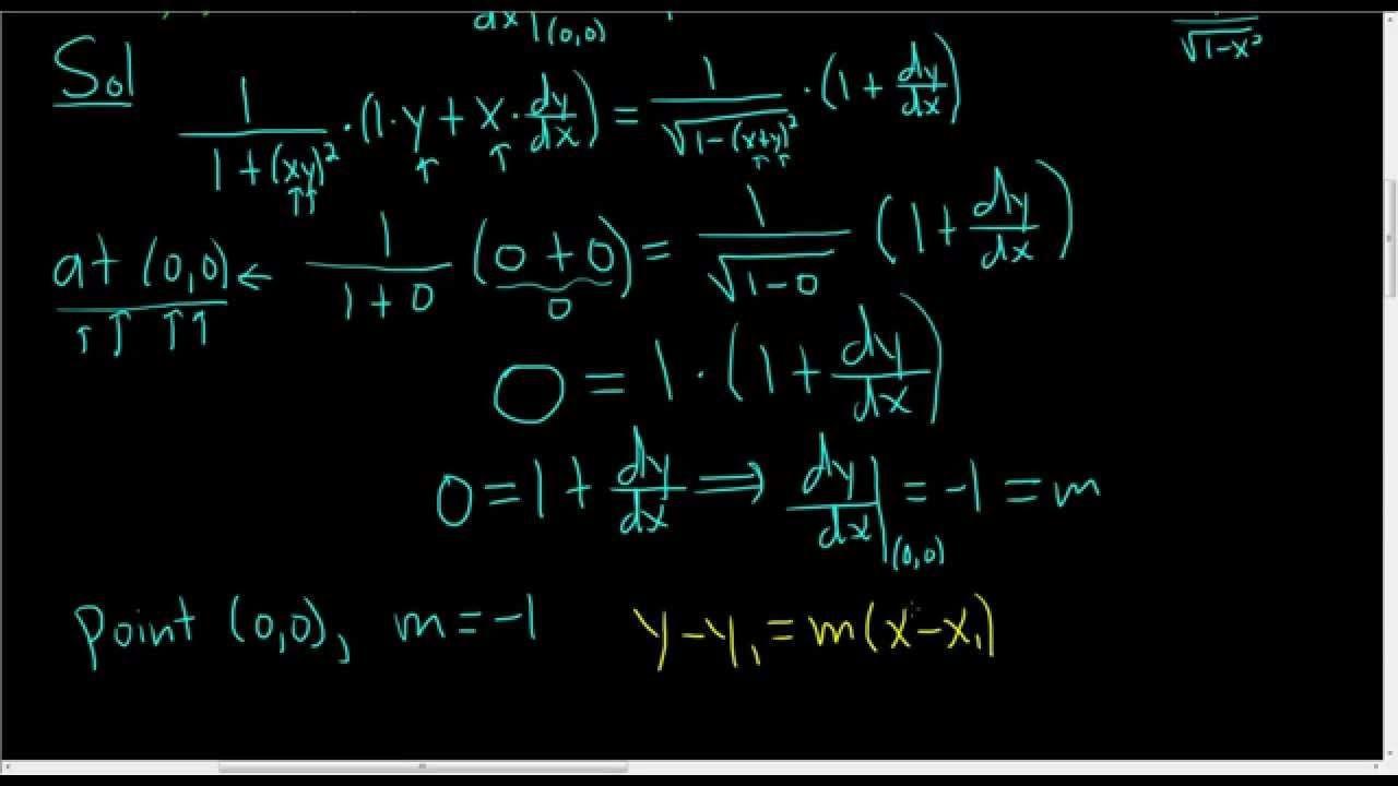 Equation of tangent line to graph of arctanxy arcsinx