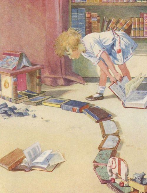 """creatingachildrensbookworld: """" Illustrated by Honor Appleton (born February  4th 1879, Brighton, UK)…   Children's book illustration, Reading art, Kids reading  books"""