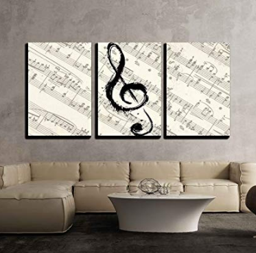 Amazon Com Wall26 3 Piece Canvas Wall Art Music Note On Vintage