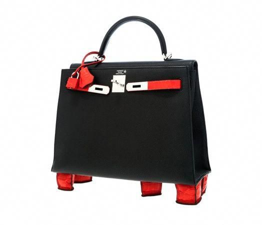 f6d8a73bd86b Hermes geranium porous handbag with crocodile feet   Hermès Kelly handbag  fetches record price at Dallas