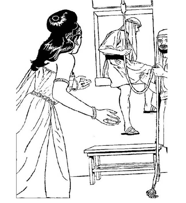 Rahab sends the 2 spies away to safety. This coloring page