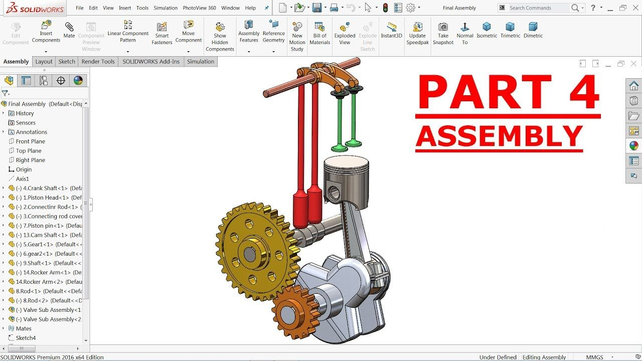 Solidworks Tutorial Design Of Single Cylinder Engine Assembly Part 4 Youtube Solidworks Tutorial Solidworks Tutorial