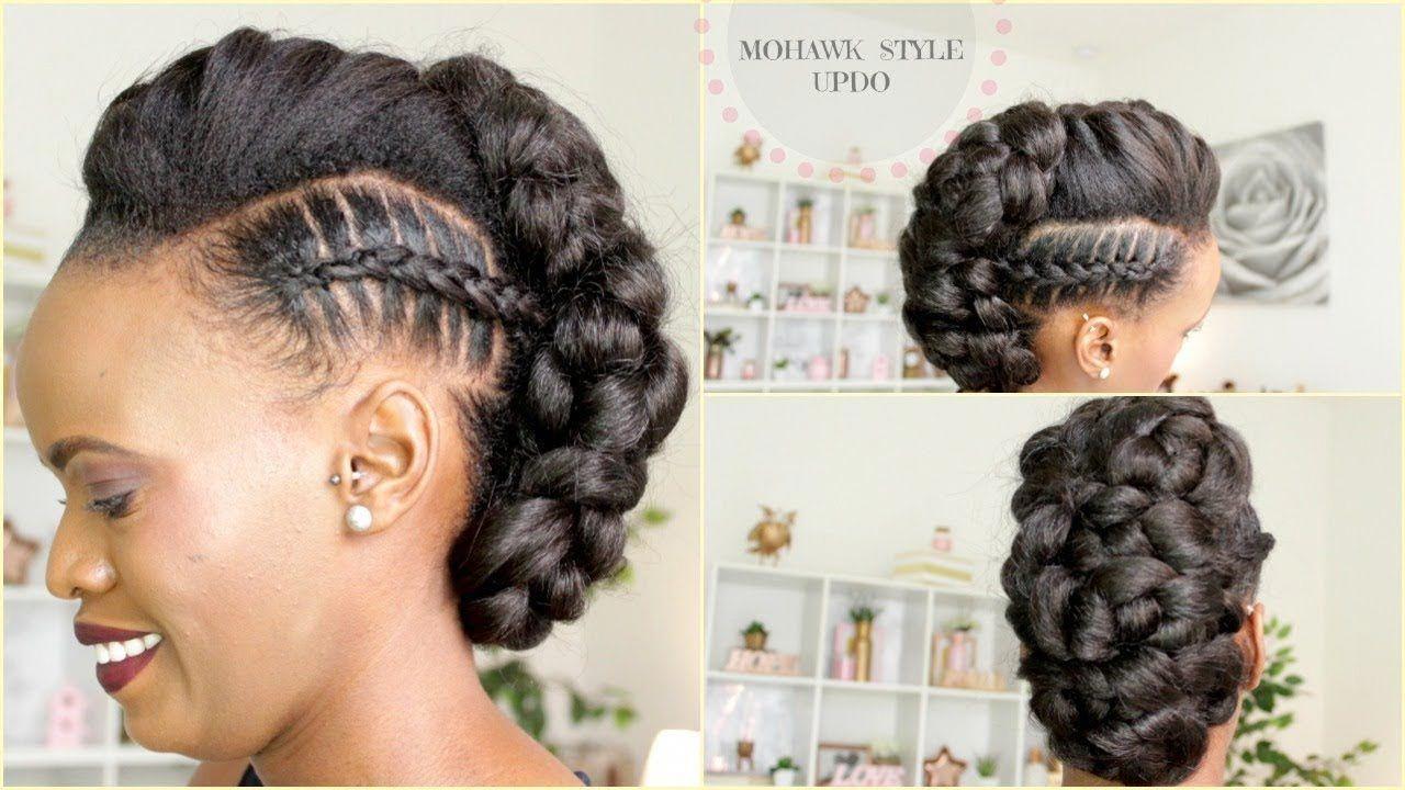 Stitch braid mohawk updo in medium hair braids braids hair