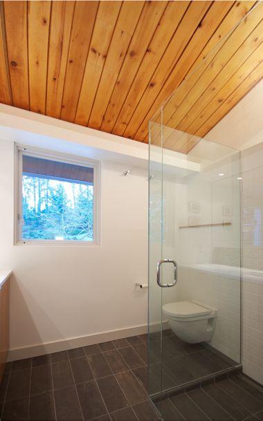 Bathroom Wood Ceiling Slate Floor White Tile Walls Home