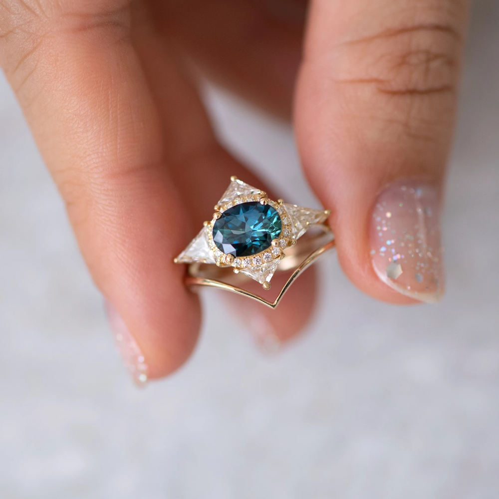 Teal Sapphire Deco Ring with Triangle Diamonds in 2020