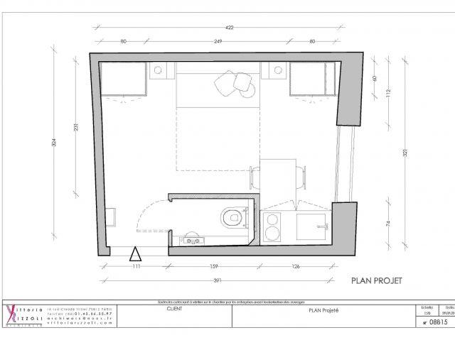 Un Studio De 14m2 Valorise Ses Atouts En Subtilite Amenager Studio 15m2 Appartement Etudiant Studio