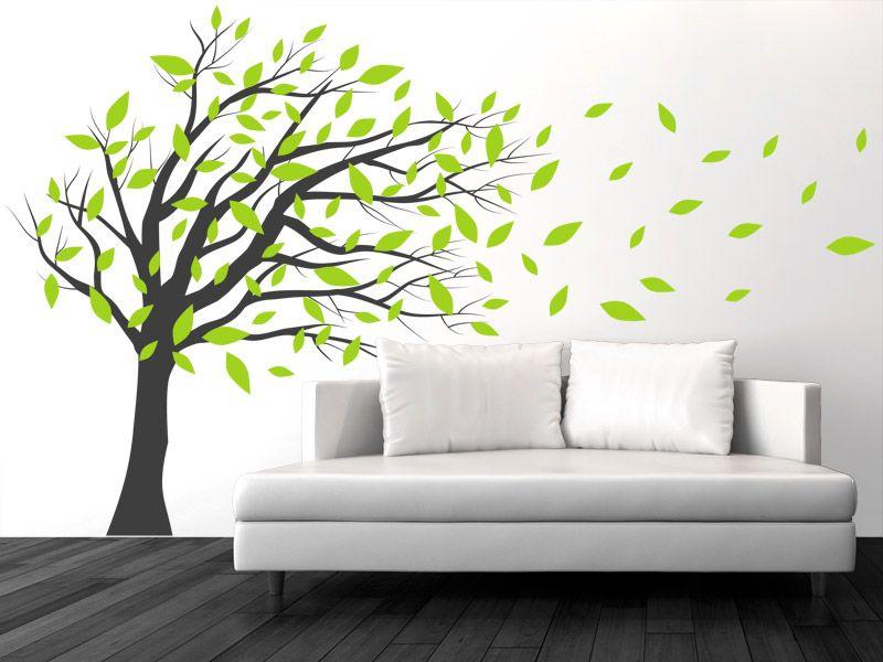 Wandtattoo Wehender Baum im Wind Wandtattoo, Baum und Wandtattoos - wandtattoos f r wohnzimmer