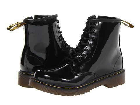 Dr Martens Kids Delaney Leather Boot Little Kid Big Kid Youth Black Patent Lamper Boots Lace Boots Kids Boots