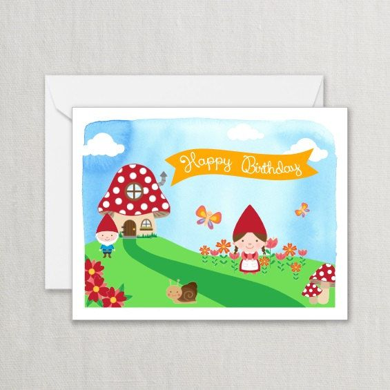Happy Birthday Card Gnomes With Mushroom House Snail And Flowers