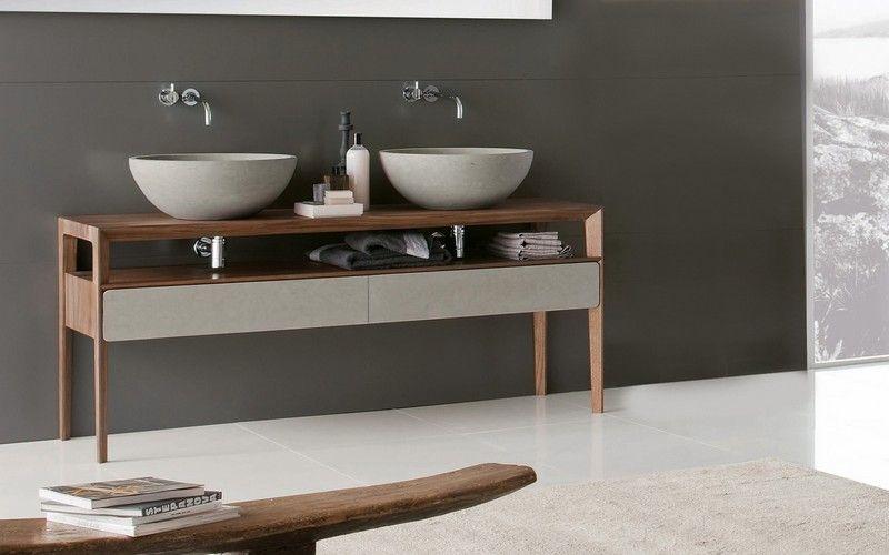 Holz Waschtisch mit Unterschrank und Betonbecken Bathrooms Pinterest - badezimmer waschbecken mit unterschrank