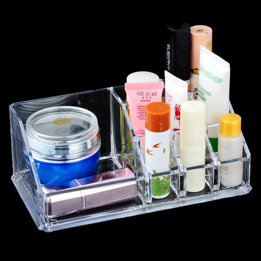 1Pcs 9 Grids Crystal Acrylic Cosmetic Organizer Clear Makeup Jewelry