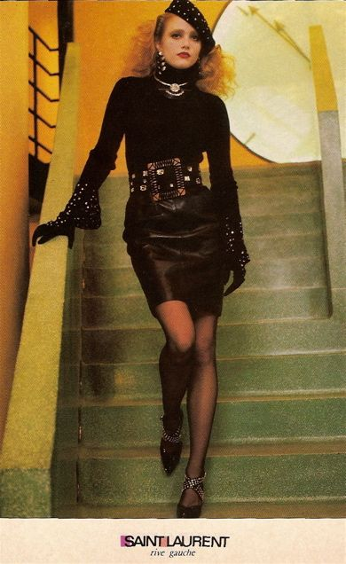 4. Yves St. Laurent ad campaign Vogue 1985. Tide short pencil skirt with cowlneck, black tides and french beret. And of course voluminous hair.