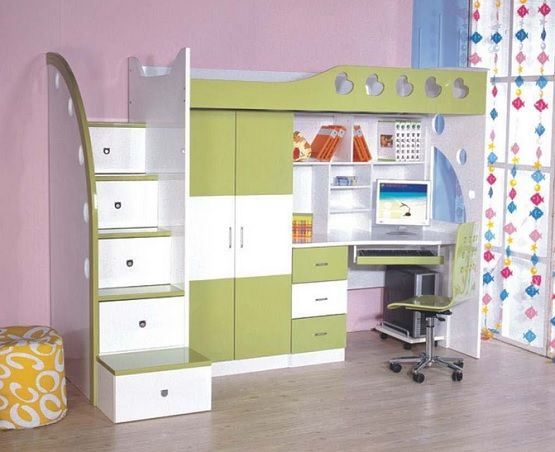 Best White Green Kids Bunk Bed Sets With Desk Bookcase In 2020 400 x 300