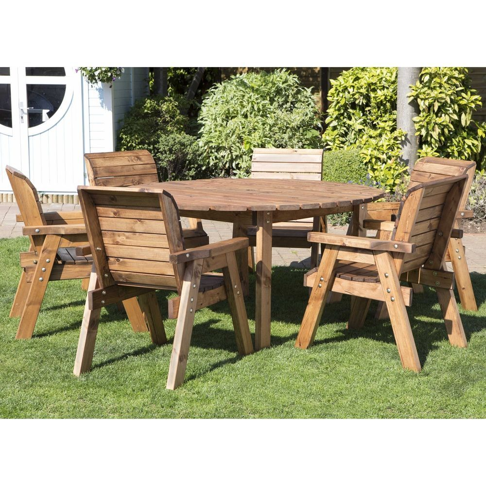 6 Seater Circular Garden Dining Set Table Lawn Patio Outdoor Wooden Furniture Outdoor Tables And Chairs Wooden Outdoor Table Wooden Garden Table