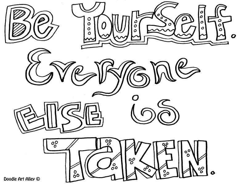 Quote Coloring Page Be Yourself