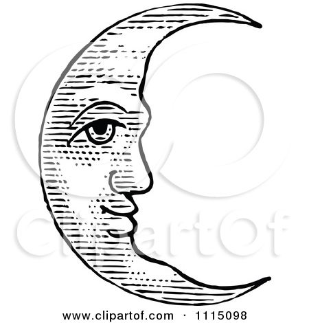 Clipart Vintage Black And White Crescent Moon Face Royalty Free