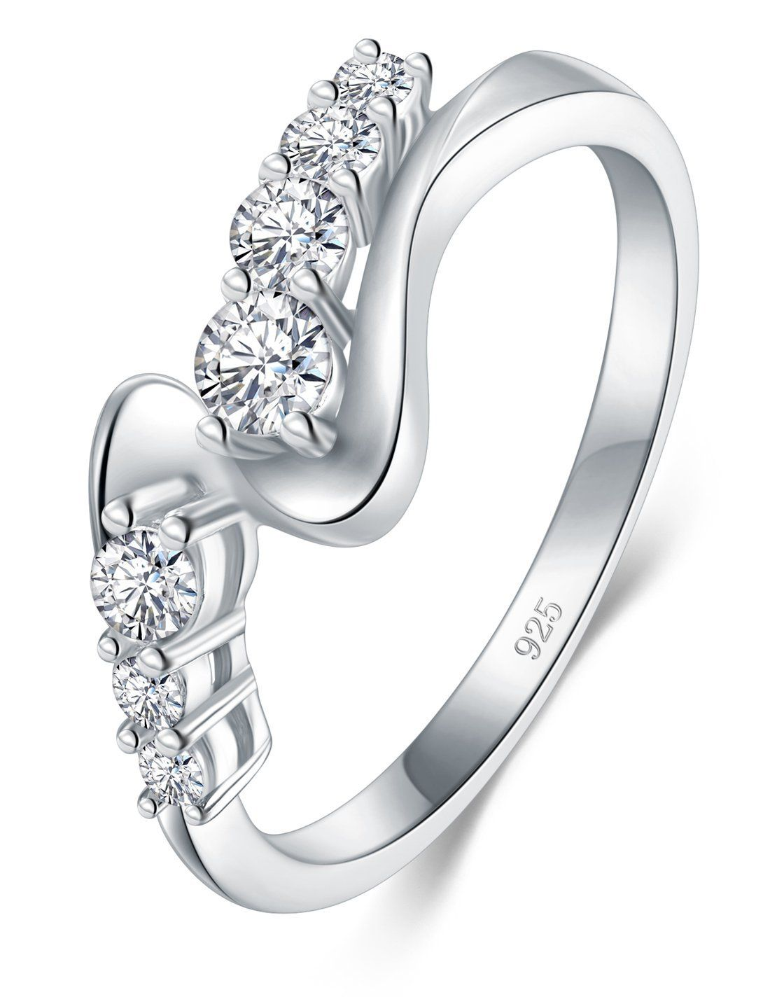 BORUO 925 Sterling Silver Ring, Cubic Zirconia CZ Diamond