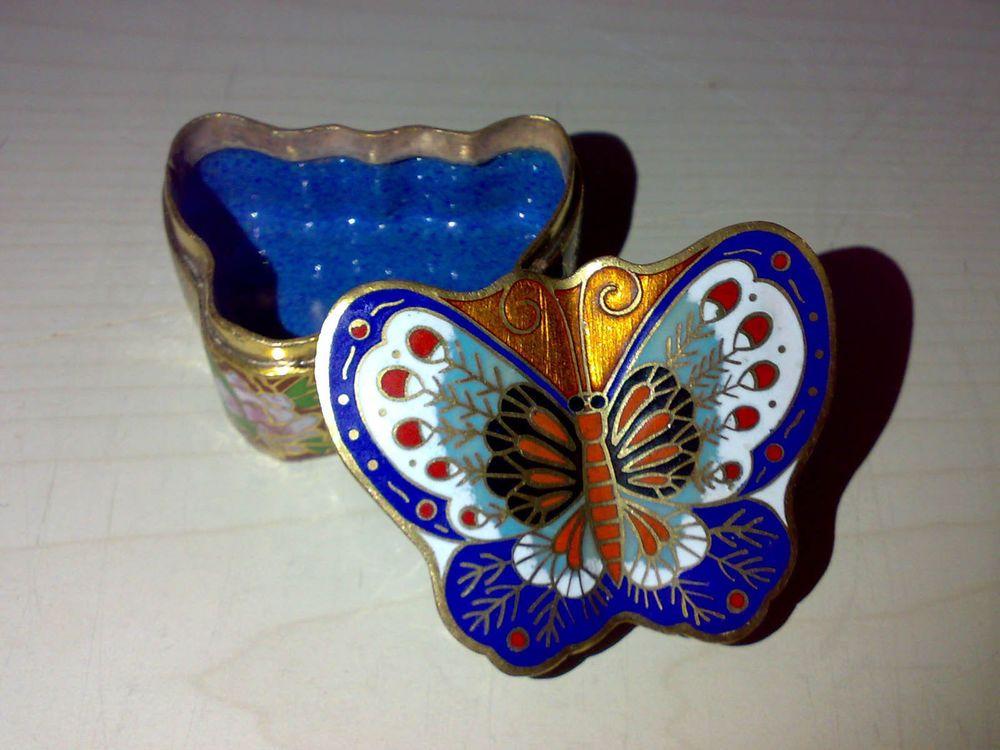 Kleine Messing Cloisonne Dose Schmetterling China Emaille Pillendose 6x4,7x3 cm