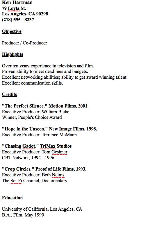 Example Of Producer Resume  HttpResumesdesignComExampleOf