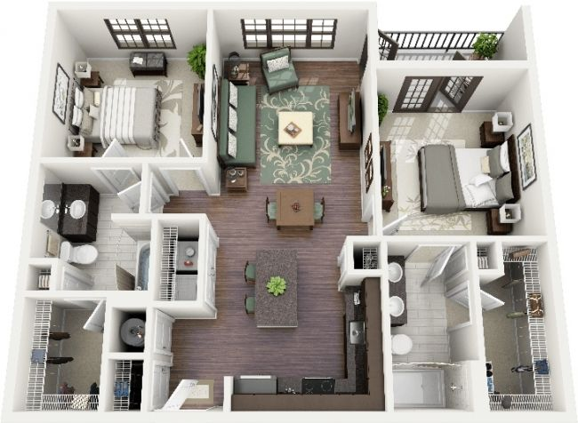 50 plans 3d d 39 appartement avec 2 chambres appartements for Plan 3d chambre