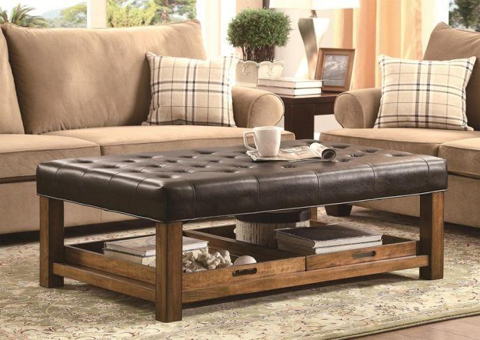 tufted ottoman coffee table with shelf | EIDOLONAI. | Abbi\'s re ...