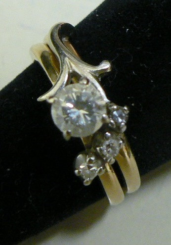 Unique estate 14 kt yellow gold diamond wedding engagement and