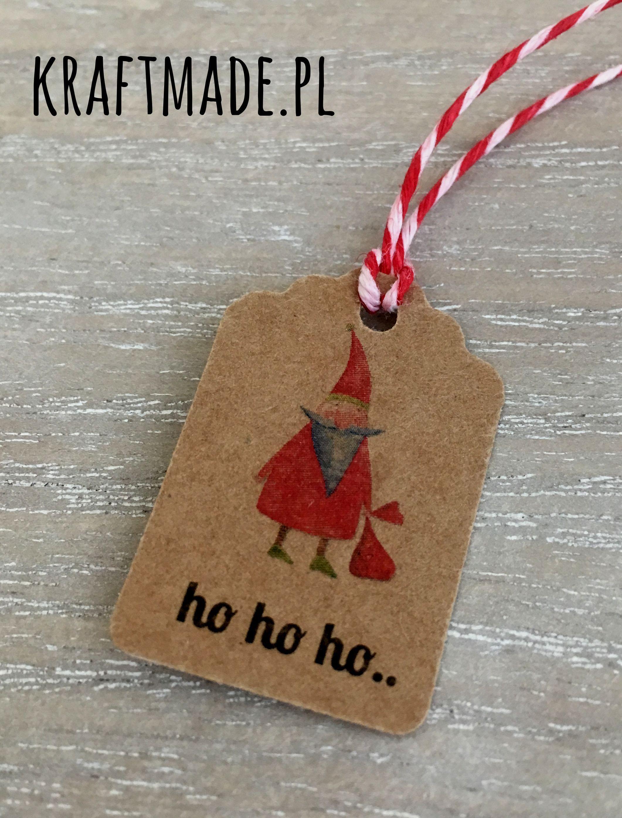 Etykiety Zawieszki 5 Szt Swiateczne Eko Kraft Hohoho Christmas Ornaments Novelty Christmas Holiday Decor