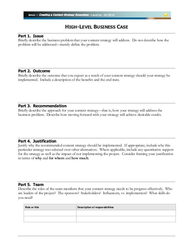 Business Case template for LavaCon Creating a Content Strategy – Business Case Template