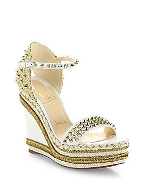 d0a31941ab3 Christian Louboutin Madmonica 120 Spiked Leather Espadrille Wedge Platform  Sandals